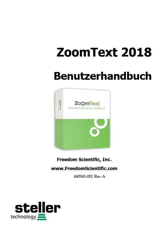 Deckblatt der Anleitung ZoomText 2018